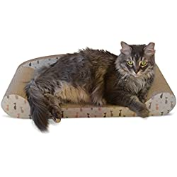 Cardboard Cat Scratcher Couch Bed Scratching Pad Sofa Bed Corrugated Cardboard Kitten Lounge with Catnip - 24 Inches wide for Large Cats
