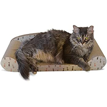 Feline Be Mine Cardboard Cat Scratcher Couch - Kitty Couch Scratching Pad Sofa Bed Protect Furniture Getting Damaged - Kitten Lounger, Sturdy Eco-friendly Design, Catnip Included