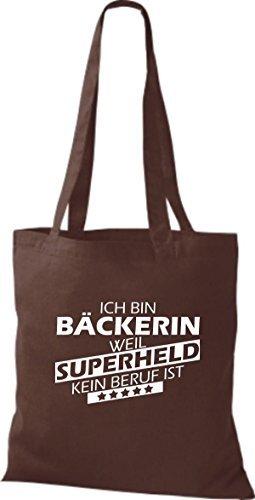 Shirtstown Stoffbeutel Ich bin Bäckerin, weil Superheld kein Beruf ist braun