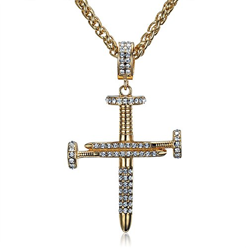 - SINLEO Men's Stainless Steel Hip Hop Cubic Zirconia Gold Plated Nail Cross Pendant Neckace