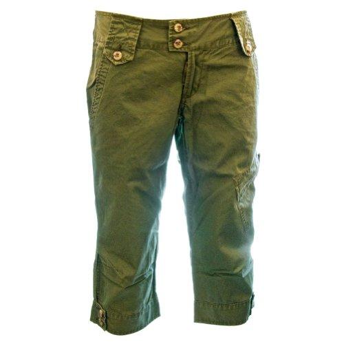 Long Shorts Capri Pants (Womens Kalahari Capri Long Shorts 48007, 100% Cotton Durable Cute Fitted Tough Capris, Large/18 Field Green)