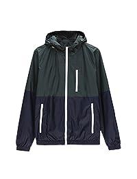 SODIAL(R) Spring Autumn new men's sports jacket hooded Outdoor jacket Men Fashion Thin Windbreaker Zipper Coats Outwear Army Green L