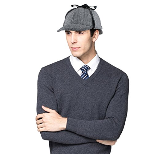 Holmes Costumes (Sherlock Holmes Detective Hat, Unisex Deerstalker Double Brimed Visor Cap with Earflap Warmer, Novelty Hat for Costume Party Fancy Dress Cosplay)