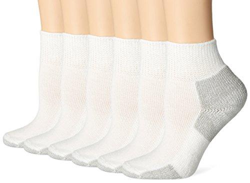 Thorlos  Womens Running Thick Padded Ankle - Low Cut Socks 3-Pack, White/Platinum M (Women's: 6.5-10, Men's: 5.5-8.5)