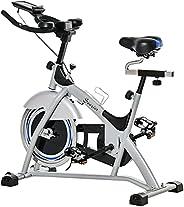 Soozier Indoor Exercise Bike Quiet Belt Drive Stationary, Flywheel Cardio Workout Bicycle, Comfortable Adjusta