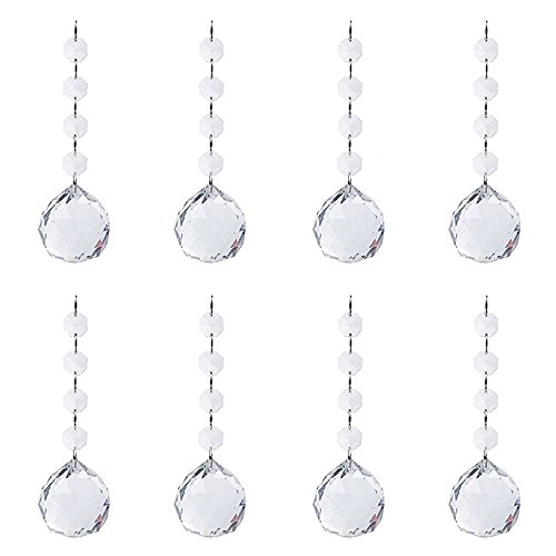 (BIHRTC Pack of 8 Clear Faceted Crystal Glass Ball Chandelier Prisms Ceiling Lamp Lighting Hanging Drop Pendants Suncatcher for Wedding Home Office Decoration )