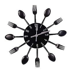 Hua Express Kitchen Wall Clock 3D Modern Creative Kitchen Cutlery Spoon Fork Timelike Wall Clock Wall Sticker Room Home Decoration (Black)