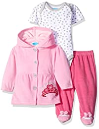 Baby Girls' 3 Piece Set with Velour Jacket Pant and Bodysuit