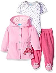 BON BEBE Girls\' 3 Piece Set with Velour Jacket Pant and Bodysuit, Little Princess Pink, 3-6 Months