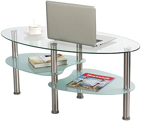 Topeakmart Living Room Modern Glass Top Coffee Table Metal Base Oval Glass Side End Table with Stainless Steels Legs