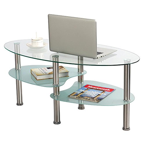 Oval Coffee Table With Metal Legs: Amazon.com: Topeakmart Living Room Modern Glass Top Coffee
