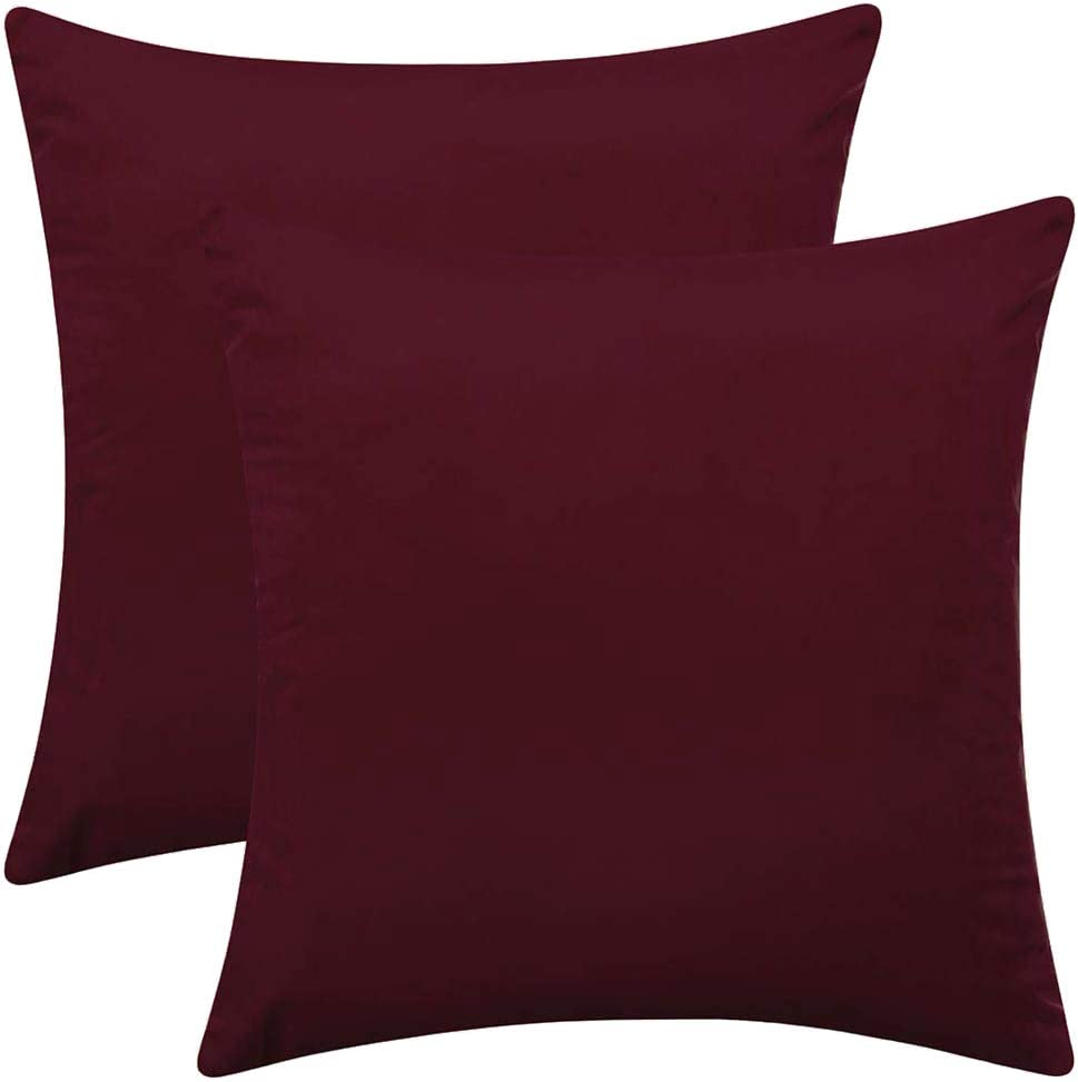 """Rythome Set of 2 Comfortable Velvet Throw Pillow Cases, Decorative Solid Cushion Covers for Sofa Couch and Bed - 18""""x18"""", Burgundy"""