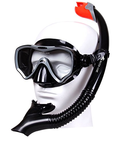 Snorkel Diving for Swimmers Tempered Glass Lens No Leaking Goggles Anti-fog Silicone Mouthpiece Adjustable Edge Buckle - Edge Buckle