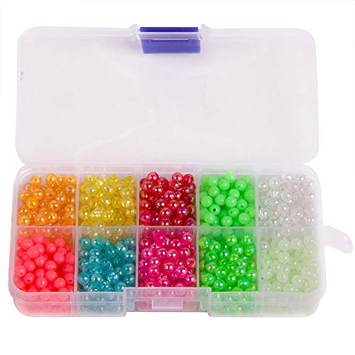 (Dr.Fish Fishing Bead Bait Eggs Kits Floating Ball Stopper Plastic with Box Glow Round Luminous Saltwater Freshwater Salmon Trout(1/7in,1000pcs))