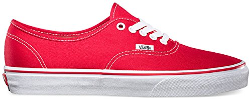 Mens Vans Authentic Canvas Low Cut Casual Lace Up Plimsolls Sneakers Red NCXiu6