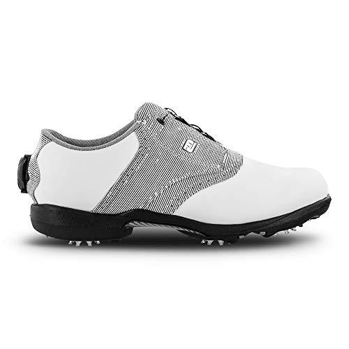 (FootJoy Women's DryJoys Boa Golf Shoes White 7.5 M Black Print, US)