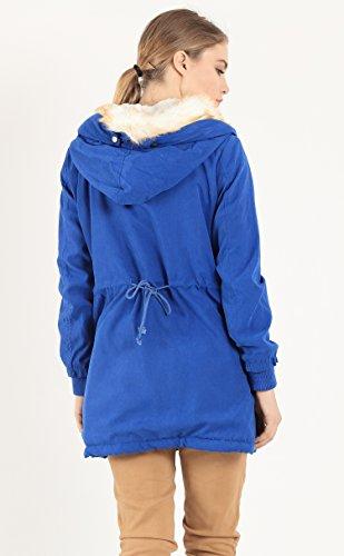 Wenseny Mujer Abrigos Invierno Gruesa con Forro Capucha Parka Manga Larga Casual Largo Chaqueta Outwear Azul