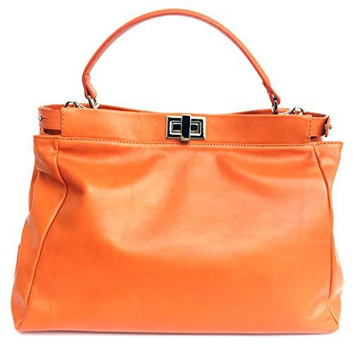 Superflybags Borsa Donna in vera pelle sauvage morbida modello Firenze Made in Italy Arancione
