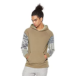 Rebel Canyon Men's Young Printed Patchwork Raglan Sleeve Hoodie Pullover Sweatshirt XL Olive