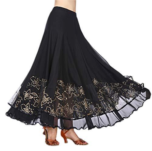 Elegant Lace Long Swing Ballroom Latin Dance Skirt for Girls Black ()