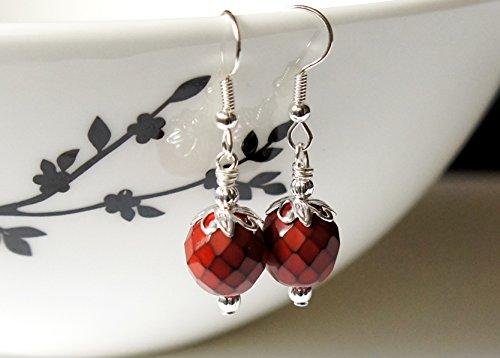 Dark Coral Red Earrings, Czech Glass Beads Earrings, Snake Beads Earrings, Round Beads Earrings, Glass Bead Earrings, Small Earrings