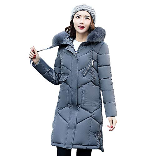 HOMEBABY Women Winter Long Cotton-Padded Jackets Coats,Ladies Thick Faux Fur Hooded Parka Quilted Padded Winter Lightweight Trench Long Sleeve Tops Cardigan Outwear Overcoat Dark Gray