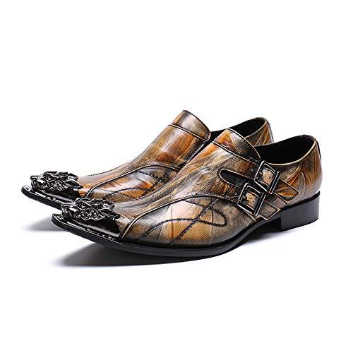 Männer Spitzen Mode Leder Schuhe Stylist Stylist Stylist Business Casual Schuhe Atmungsaktive Leder Metall Kopf Männer Schuhe,EU41 965575