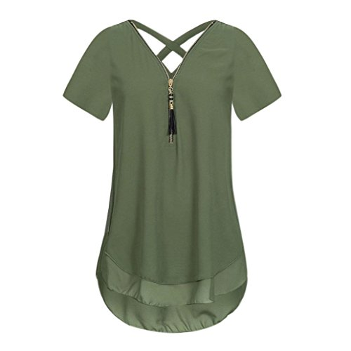 Oberteile 7 Frauen Sommer Tops Damen Tank Armeegrün DOLDOA Reißverschluss T Shirt UYWqFv