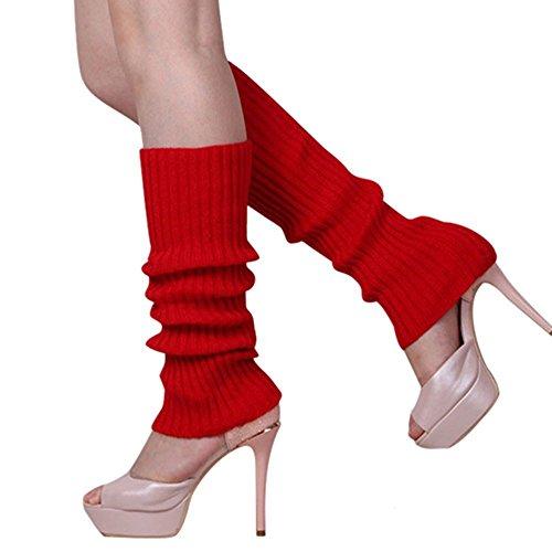 Buyeonline Candy Color Mujeres Chicas De Punto Calentadores De Pierna Medias Rodilla Legging Calcetines De Arranque Rojo