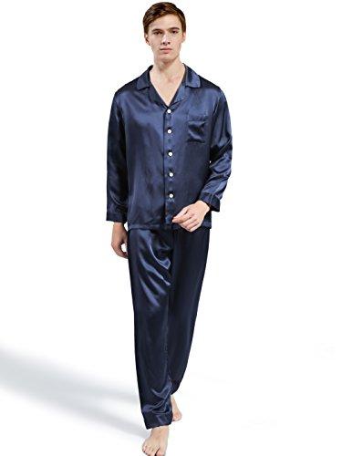 ElleSilk Men's Silk Pajama Set, Pure Mulberry Silk Sleepwear, Machine Washable, Navy, M by ElleSilk