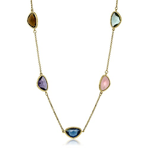 22 Inch Bark Textured Art Deco 14K Plated Bezel Multi Quartz Stone (Gold Art Deco Necklace)