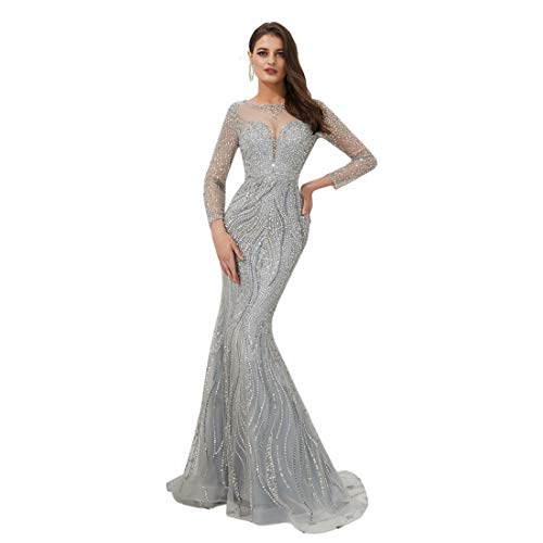 Lazacos Women's Shiny Sequined Beaded Prom Dress Long Sleeve Mermaid Evening Party Gown Gray