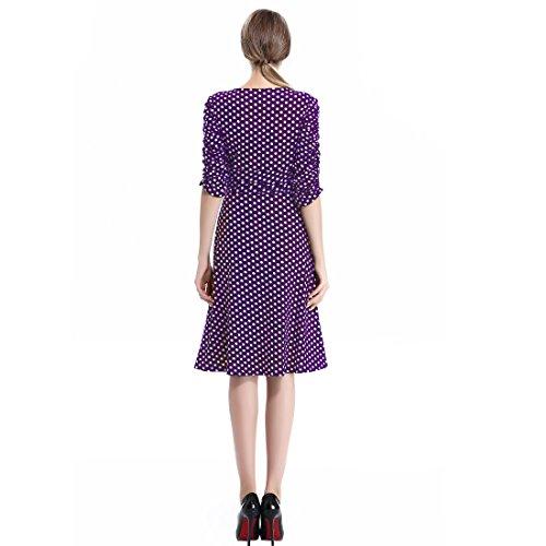 Aamikast Femmes Fronces V-cou À Manches Élégantes Robes De Cocktail Dot Casual Violet