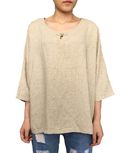 Aeneontrue Women's Linen Cotton Casual Short Sleeve Tops T-Shirts Blouses Tees (Large, Style4_Hemp)
