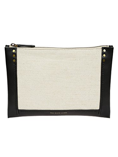 Ralph Lauren Femme 427685387001 Beige/Noir Coton Pochette