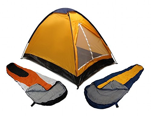 ORANGE DOME CAMPING TENT 2 MAN + 2 SLEEPING BAGS 20+ COMBO CAMPING HIKING PACK by EDMBG