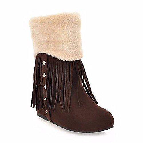 ZHUDJ Damen Schuhe Winter Komfort Snow Boots Runder Mid-Calf Stiefel Niet Quaste (S) Für Casual Mandel Braun Brown