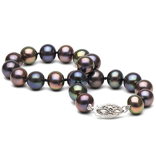 Black Freshwater Cultured Pearl Bracelet, 7.0-8.0mm - AAA Quality, 14K White Gold Filigree Clasp by Pure Pearls