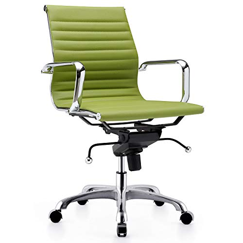LUXMOD Mid Back Adjustable Home Office Arms Swivel Durable Vegan Leather, Ergonomic Desk Chair for Extra Back & Lumbar Support – Green