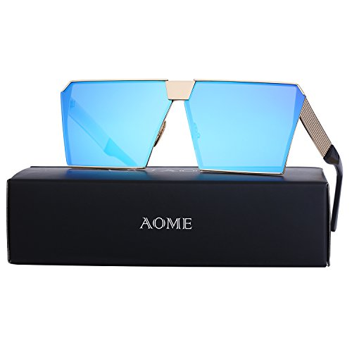 AOME Oversized Flat Top Sunglasses Square Metal Frame Mirrored Sunglasses (Gold&Blue, - Contacts Eye Sunglass