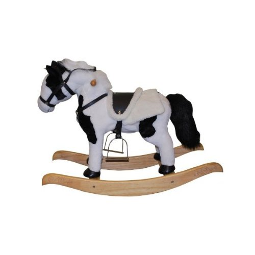 Rocking Horse with Animated Head and Tail - Black and White