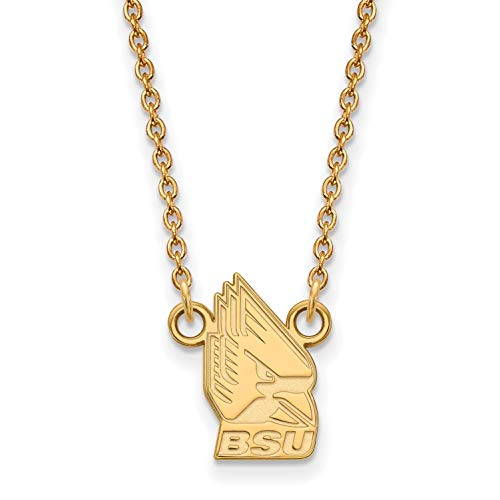 - 10k Yellow Gold Ball State University Cardinals Charlie Mascot Pendant Necklace 12x9mm 18 Inches