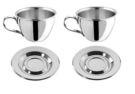 73f8e14920d Image Unavailable. Image not available for. Color: Motta Stainless Steel  Espresso Cups and Saucers ...