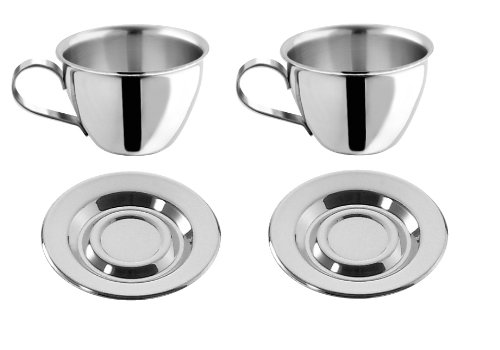 Motta Stainless Steel Espresso Cups and Saucers, Set of 2