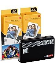 Kodak P210R Mini 2 draagbare fotoprinter + 6 cartridges, instant foto's van 54 x 86 mm, Bluetooth en compatibel met iOS- en Android-smartphones, Zwart