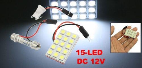 Amazon.com: eDealMax auto auto Blanco 5050 SMD 15 LED lámpara de luz-Dome w adaptador de Adorno T10: Automotive