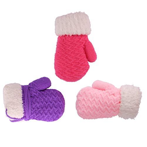 3 Pairs Baby Boy Girl Warm Winter Mittens Gloves Purple Pink 0-12 months 23 years