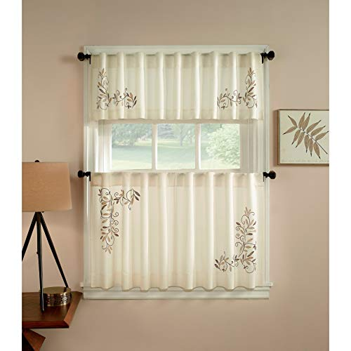 CHF Industries Scroll Leaf 3-Piece Curtain Tier and Valance Set 24 inch