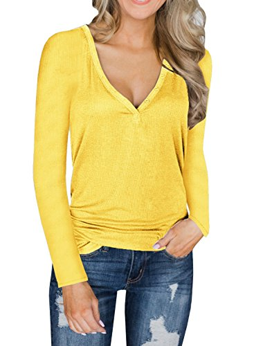 Dellytop Womens V Neck Henley Shirts Long Sleeve Button up Plain Tunic Tops Tees by Dellytop