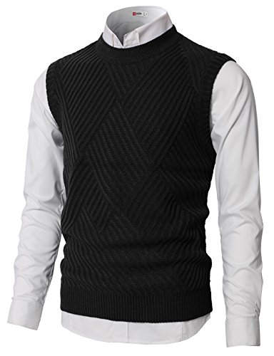 (H2H Men's Raker Stitch Argyle V-Neck Sweater Vest Black US M/Asia M)